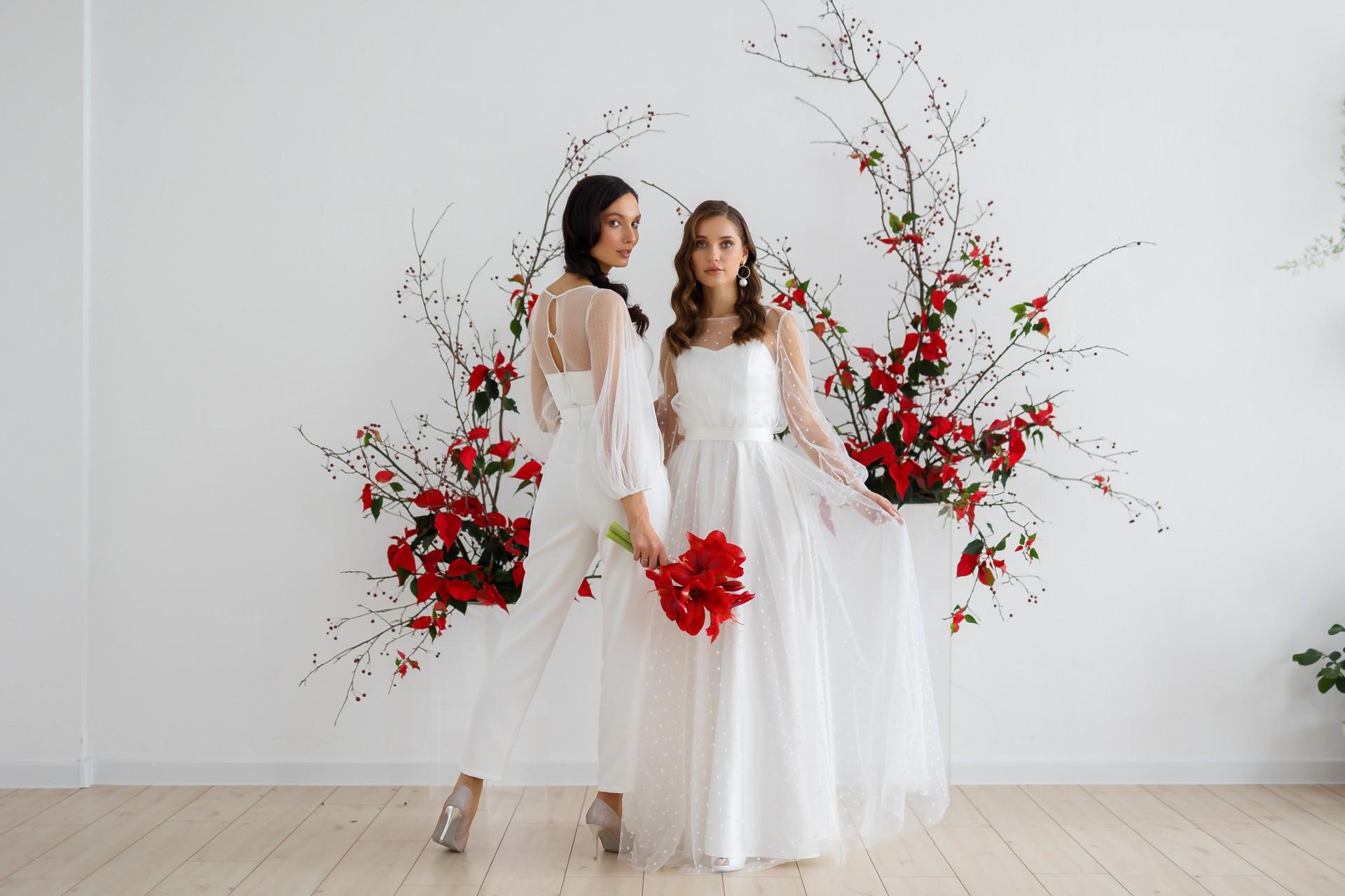 vestido de novia con pantalon